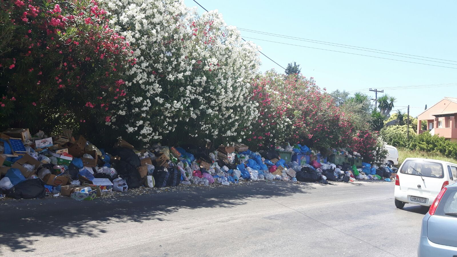 Dekorativ und doch verstörend - Müll auf Korfu